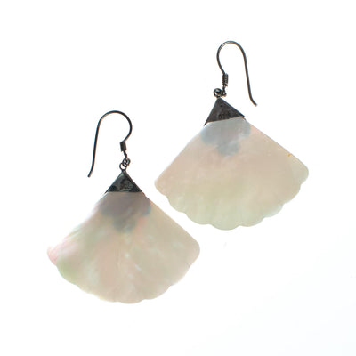 Vintage Mother of Pearl Fan Dangling Earrings with Sterling Silver by 1980s - Vintage Meet Modern - Chicago, Illinois