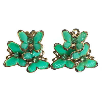 Vintage Mid Century Modern Light Green Lucite and Rhinestone Butterfly Earrings by 1950s - Vintage Meet Modern - Chicago, Illinois