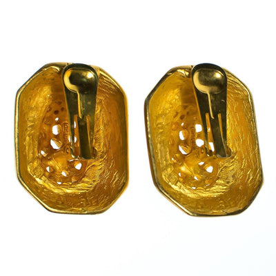 Vintage 1980s Clara Studio Brushed Gold Tone Nugget Statement Earrings by Clara - Vintage Meet Modern - Chicago, Illinois