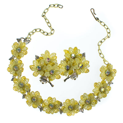 Vintage Yellow Flower Choker Necklace with Aurora Borealis Crystals by 1950s - Vintage Meet Modern - Chicago, Illinois