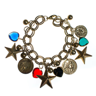 Vintage Mid Century Modern Chunky Charm Bracelet with Stars, Coins, Blue, Green, and Red Crystal Hearts by 1950s - Vintage Meet Modern Vintage Jewelry - Chicago, Illinois - #oldhollywoodglamour #vintagemeetmodern #designervintage #jewelrybox #antiquejewelry #vintagejewelry