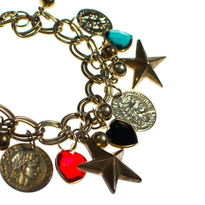 Vintage Mid Century Modern Chunky Charm Bracelet with Stars, Coins, Blue, Green, and Red Crystal Hearts by 1950s - Vintage Meet Modern - Chicago, Illinois