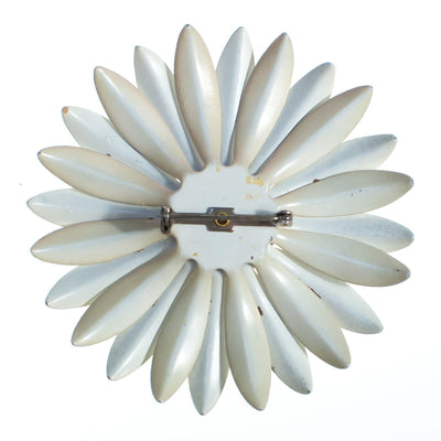 Vintage 1950s Mod Flower Power Huge White Enamel Daisy Brooch by 1950s - Vintage Meet Modern - Chicago, Illinois