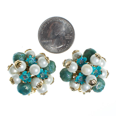 Vintage 1950s Turquoise and Pearl Cluster Statement Earrings by 1950s - Vintage Meet Modern - Chicago, Illinois