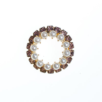 Vintage Pearl and Pink Rhinestone Circle Brooch by 1950s - Vintage Meet Modern - Chicago, Illinois