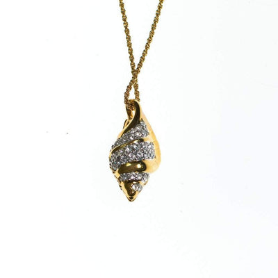 Vintage Swarovski Gold Shell Pendant Necklace by Swarovski - Vintage Meet Modern - Chicago, Illinois