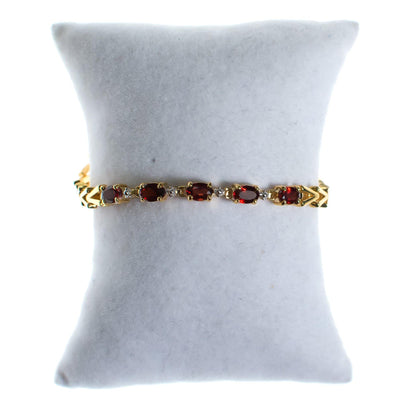Vintage Garnet Bracelet Set in 18kt Gold Over Sterling Silver by 1980s - Vintage Meet Modern - Chicago, Illinois