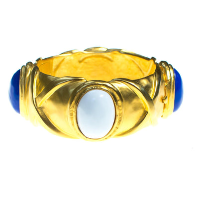Vintage Karl Lagerfeld Couture Brushed Gold Bangle with White and Lapis Blue Glass Cabochons by Karl Lagerfeld - Vintage Meet Modern Vintage Jewelry - Chicago, Illinois - #oldhollywoodglamour #vintagemeetmodern #designervintage #jewelrybox #antiquejewelry #vintagejewelry