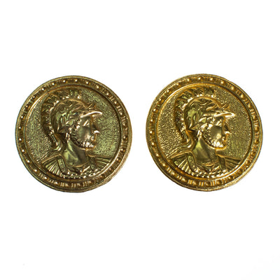 Vintage 1980s Roman Coin Earrings, Gold Tone Setting, Clip-on by 1980s - Vintage Meet Modern - Chicago, Illinois