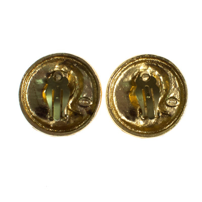 Vintage 1980s Roman Coin Earrings, Gold Tone Setting, Clip-on by 1980s - Vintage Meet Modern Vintage Jewelry - Chicago, Illinois - #oldhollywoodglamour #vintagemeetmodern #designervintage #jewelrybox #antiquejewelry #vintagejewelry