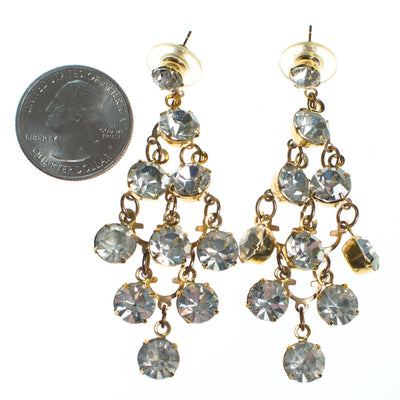 Vintage Retro Diamante Waterfall Statement Earrings by 1980s - Vintage Meet Modern - Chicago, Illinois