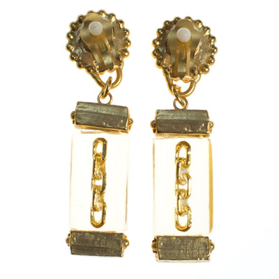 Vintage Gold Coin and Chain Earrings with Lucite by 1980s - Vintage Meet Modern - Chicago, Illinois