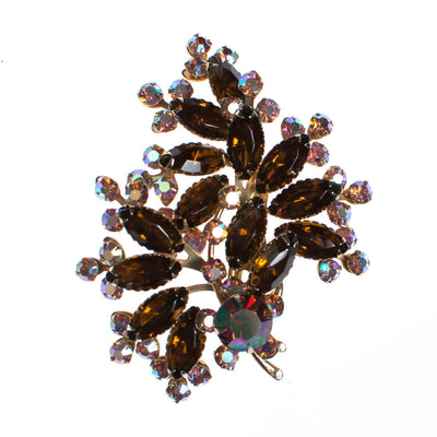 Vintage 1950s Amber and Pink Aurora Borealis Rhinestone Brooch by 1950s - Vintage Meet Modern - Chicago, Illinois