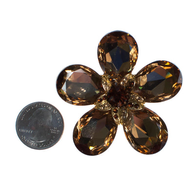 Vintage Smokey Topaz Crystal Flower Brooch by 1980s - Vintage Meet Modern - Chicago, Illinois