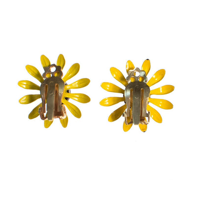 Vintage 1950s Black Eyed Susan Yellow and Black Enamel Flower Statement Earrings by 1950s - Vintage Meet Modern - Chicago, Illinois
