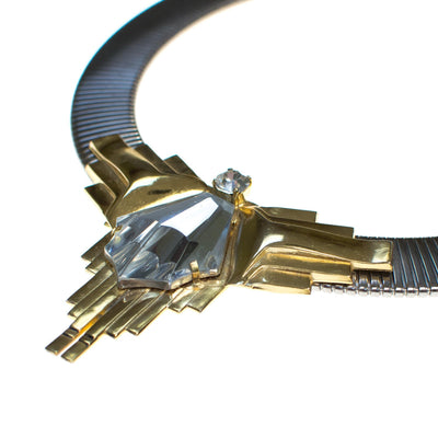 Vintage 1980s Art Deco Inspired Steampunk Collar Necklace in Silver with Gold Accented and Carved Geometric Crystal by 1980s - Vintage Meet Modern - Chicago, Illinois