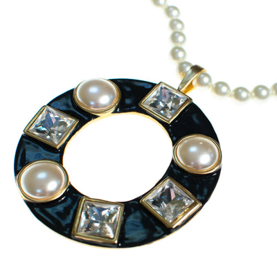 Vintage Kenneth Jay lane Pearl Diamante Crystal and Black Enamel Pendant Statement Necklace by Kenneth Jay lane - Vintage Meet Modern - Chicago, Illinois