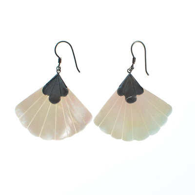 Vintage Mother of Pearl Fan Dangling Earrings with Sterling Silver by 1980s - Vintage Meet Modern Vintage Jewelry - Chicago, Illinois - #oldhollywoodglamour #vintagemeetmodern #designervintage #jewelrybox #antiquejewelry #vintagejewelry