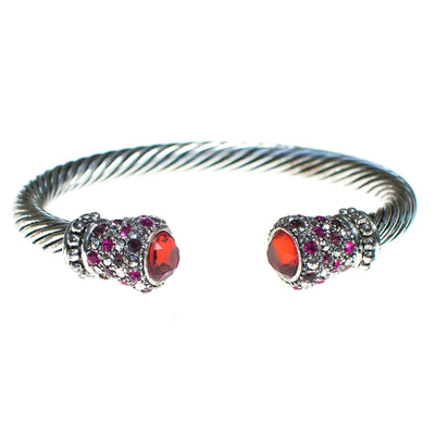 Vintage Silver Cable Cuff Bracelet with Orange Crystal Caps and Pink and Diamante Pave Rhinestone Accents by 1990s - Vintage Meet Modern - Chicago, Illinois