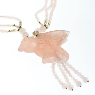 Vintage Genuine Rose Quartz Beaded Necklace with Carved Rose Quartz Bird by Rose Quartz - Vintage Meet Modern - Chicago, Illinois