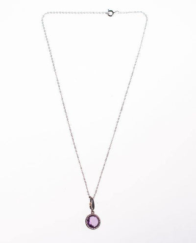Vintage Minimalist Art Deco Amethyst Pendant Necklace by Art Deco - Vintage Meet Modern - Chicago, Illinois