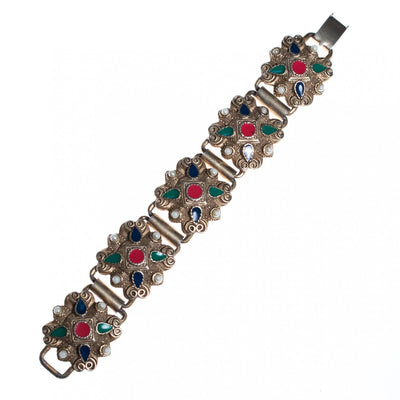 Vintage Silver Embossed Panel Bracelet with Red, Green, Blue Enamel and Faux Pearls by Mid Century Modern - Vintage Meet Modern Vintage Jewelry - Chicago, Illinois - #oldhollywoodglamour #vintagemeetmodern #designervintage #jewelrybox #antiquejewelry #vintagejewelry