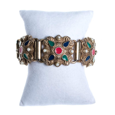 Vintage Silver Embossed Panel Bracelet with Red, Green, Blue Enamel and Faux Pearls by Mid Century Modern - Vintage Meet Modern - Chicago, Illinois