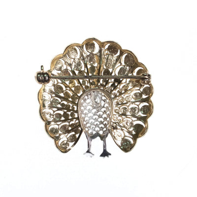 Vintage Peacock Filigree Brooch set in 800 Silver and Gold Wash by 800 Silver - Vintage Meet Modern - Chicago, Illinois