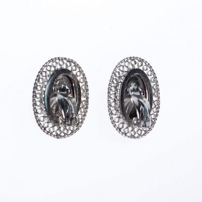 Vintage Whiting and Davis Hematite Earrings with Silver Lattice Details by Whiting and Davis - Vintage Meet Modern - Chicago, Illinois