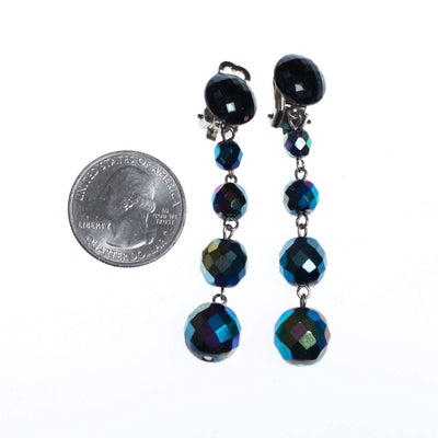 Vintage West Germany Black Iridescent Long Beaded Statement Earrings by West Germany - Vintage Meet Modern - Chicago, Illinois