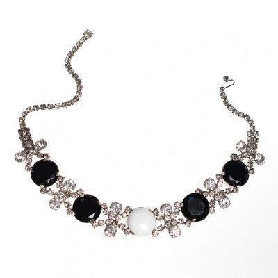 Vintage 1950s Black Jet, Diamante and White Milk Glass Rhinestone Choker Necklace by 1950s - Vintage Meet Modern - Chicago, Illinois