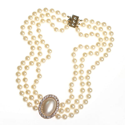 Vintage Luxurious Triple Strand Glass Pearl Necklace with Oval Pearl and Diamante Medallion by 1980s - Vintage Meet Modern - Chicago, Illinois