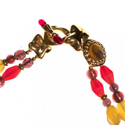 Vintage Monet Red and Yellow Frosted Crystal Necklace by Monet - Vintage Meet Modern - Chicago, Illinois