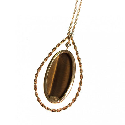 Vintage 1970s Genuine Tigers Eye Pendant Necklace by 1970s - Vintage Meet Modern - Chicago, Illinois