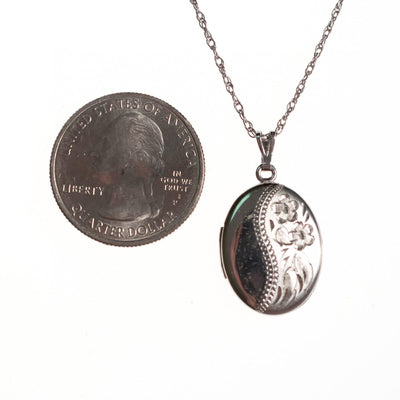Vintage Art Nouveau Sterling Silver Embossed Locket by Sterling SIlver - Vintage Meet Modern Vintage Jewelry - Chicago, Illinois - #oldhollywoodglamour #vintagemeetmodern #designervintage #jewelrybox #antiquejewelry #vintagejewelry