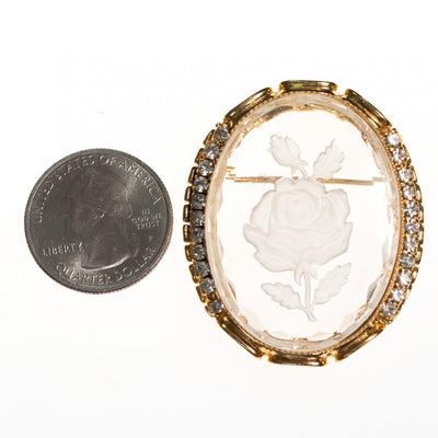 Vintage Etched Floral Cameo Style Brooch by 1950s - Vintage Meet Modern - Chicago, Illinois