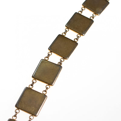 Vintage Black Enamel and Spanish Silver and Gold Damascene Square Link Bracelet by Damascene - Vintage Meet Modern - Chicago, Illinois