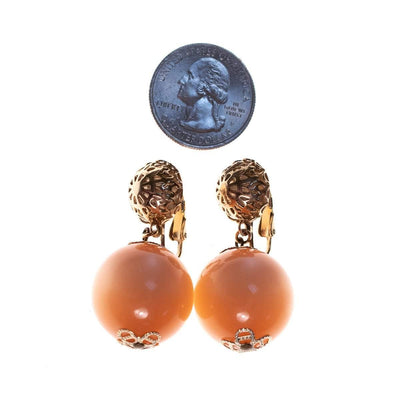 Vintage 1960s Peach Moonglow Earrings with Gold Detailing by 1960s - Vintage Meet Modern Vintage Jewelry - Chicago, Illinois - #oldhollywoodglamour #vintagemeetmodern #designervintage #jewelrybox #antiquejewelry #vintagejewelry