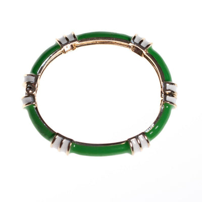 Vintage Fornash Green and White Enamel Bangle Bracelet with Hinge by Fornash - Vintage Meet Modern - Chicago, Illinois