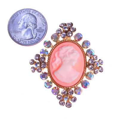 Vintage 1990s Aurora Borealis Cameo Brooch with Rhinestone Detailing by 1990s - Vintage Meet Modern - Chicago, Illinois