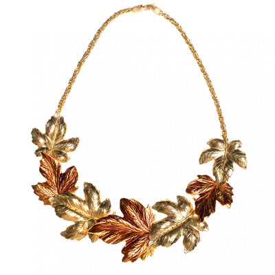Vintage Anne Klein Couture Gold and Amber Leaves Statement Necklace by Anne Klein - Vintage Meet Modern Vintage Jewelry - Chicago, Illinois - #oldhollywoodglamour #vintagemeetmodern #designervintage #jewelrybox #antiquejewelry #vintagejewelry