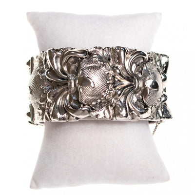 Vintage Whiting and Davis Silver Thistle Wide Hinged Bangle Bracelet by Whiting and Davis - Vintage Meet Modern - Chicago, Illinois