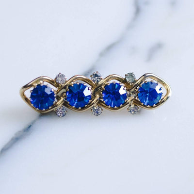 Vintage Blue Rhinestone Bar Pin by 1950s - Vintage Meet Modern - Chicago, Illinois