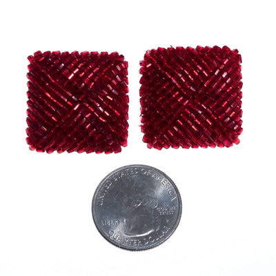 Vintage 1980s Square Red Seed Bead Earrings by 1980s - Vintage Meet Modern - Chicago, Illinois