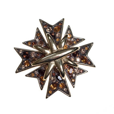 Vintage Kenneth Jay Lane Bejeweled Maltese Cross Brooch with Gunmetal, Amber, and Champagne Rhinestones by Kenneth Jay Lane - Vintage Meet Modern - Chicago, Illinois