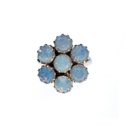 Vintage Opaline Rhinestone Blossom Statement Ring by 1950s - Vintage Meet Modern Vintage Jewelry - Chicago, Illinois - #oldhollywoodglamour #vintagemeetmodern #designervintage #jewelrybox #antiquejewelry #vintagejewelry