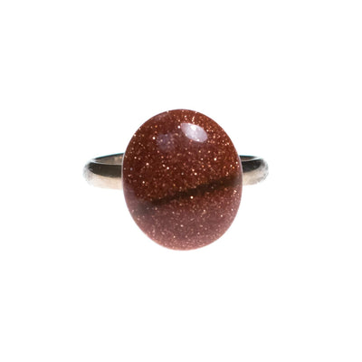 Vintage 1950s Goldstone Copperfleck Cabochon Statement Ring by 1950s - Vintage Meet Modern - Chicago, Illinois