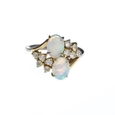 Vintage Opaline and CZ Statement Ring by 1950s - Vintage Meet Modern - Chicago, Illinois