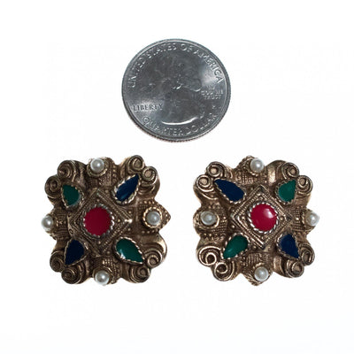 Vintage Silver Embossed Earrings with Red, Green, Blue Enamel and Faux Pearls by 1960s - Vintage Meet Modern - Chicago, Illinois