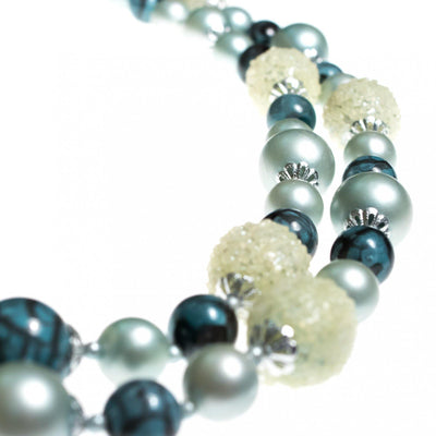 Vintage 1950s Slate Blue, Seafoam Green, and Gray Double Strand Beaded Necklace by Hong Kong - Vintage Meet Modern - Chicago, Illinois